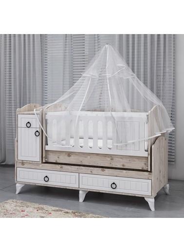 Garaj Home Garaj Home Sude Beyaz Membran Country Asansörlü Bebek Odası Takımı - Yatak Ve Uyku Seti Kombinli/ Uyku Seti Gri Gri